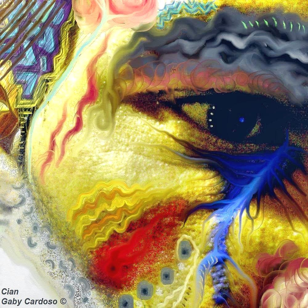 Yellow, red and blue face.