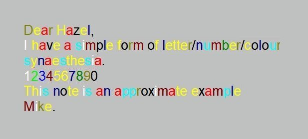 Text written with letters in specific colours.